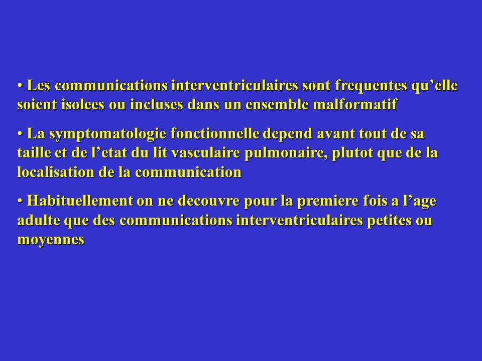 Les communications interventriculaires sont frequentes qu'elle soient isolees ou incluses dans un ensemble malformatif