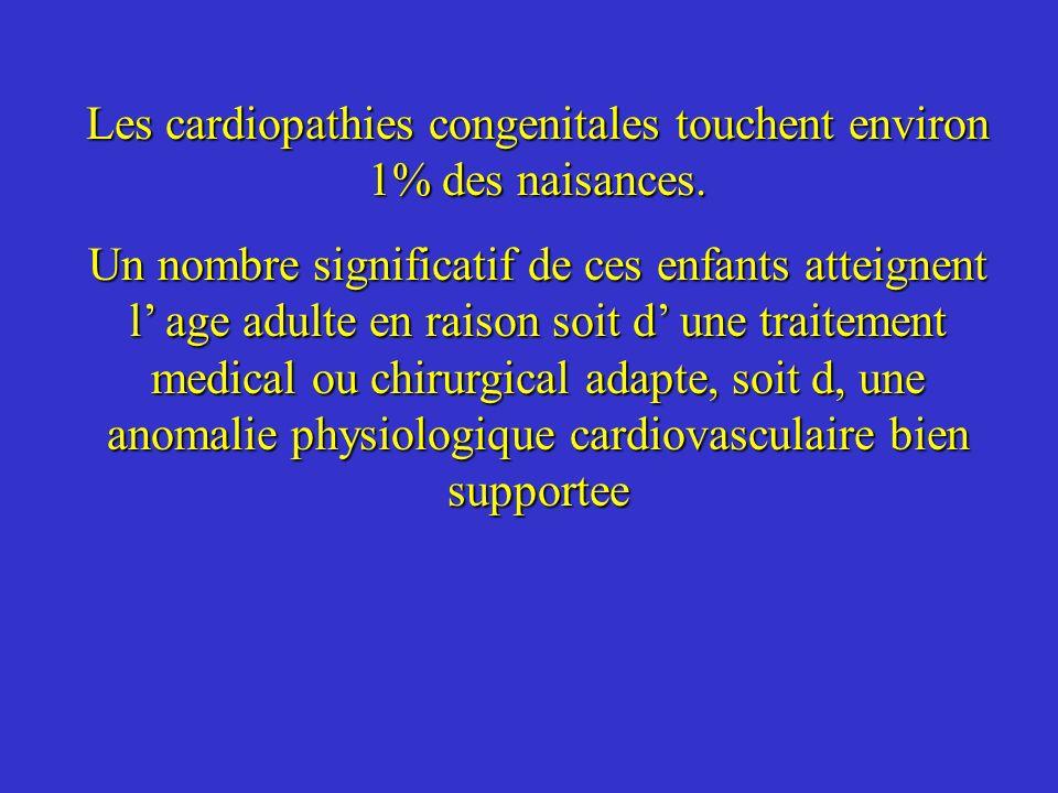 Les cardiopathies congenitales touchent environ 1% des naisances.