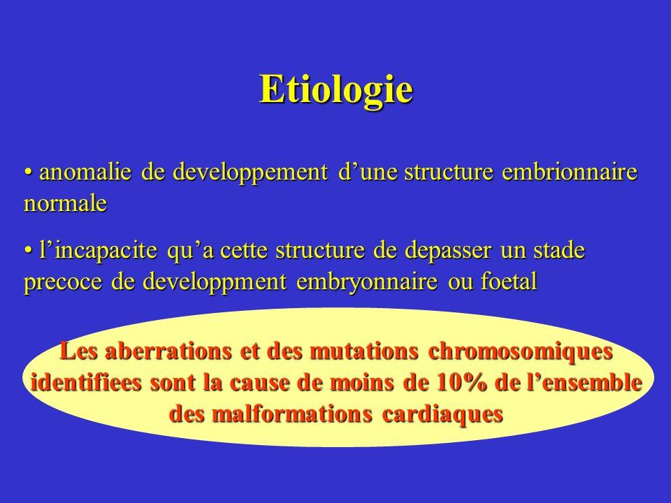 Etiologie anomalie de developpement d'une structure embrionnaire normale.