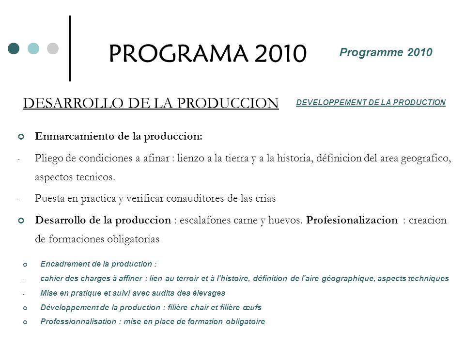 PROGRAMA 2010 DESARROLLO DE LA PRODUCCION Programme 2010