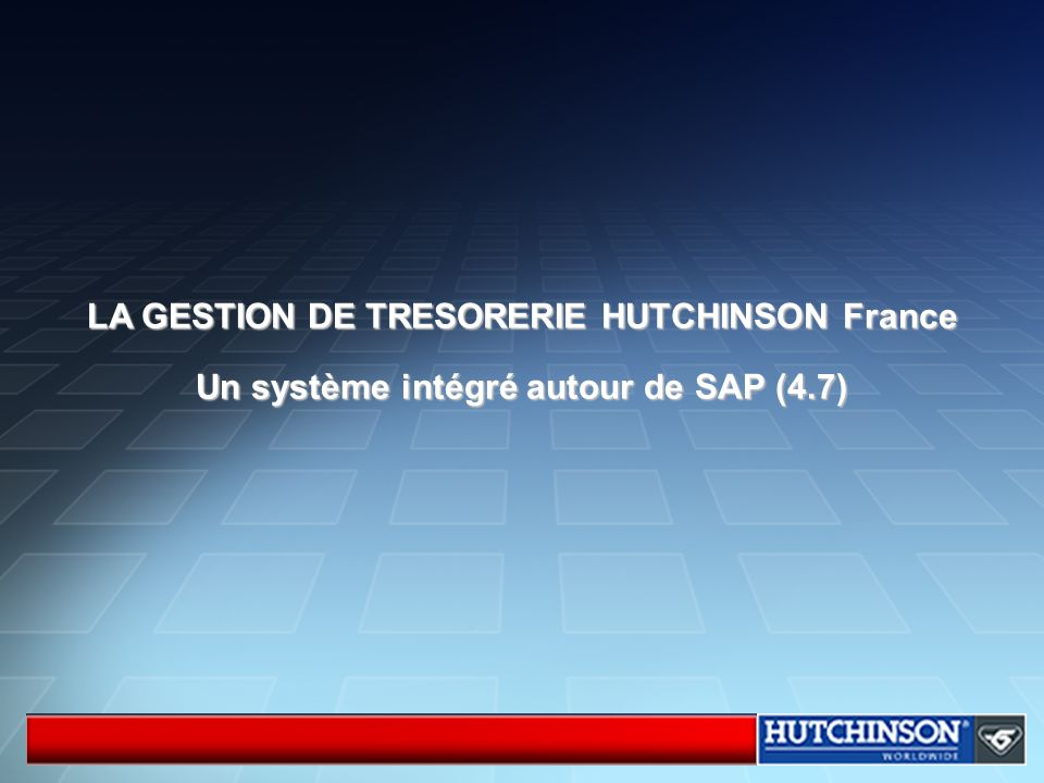 LA GESTION DE TRESORERIE HUTCHINSON France