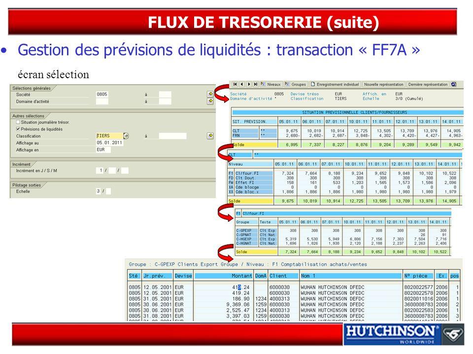 FLUX DE TRESORERIE (suite)