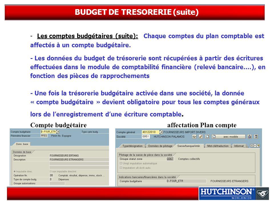 BUDGET DE TRESORERIE (suite)