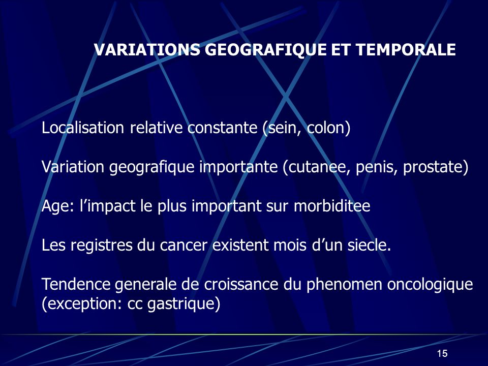 VARIATIONS GEOGRAFIQUE ET TEMPORALE