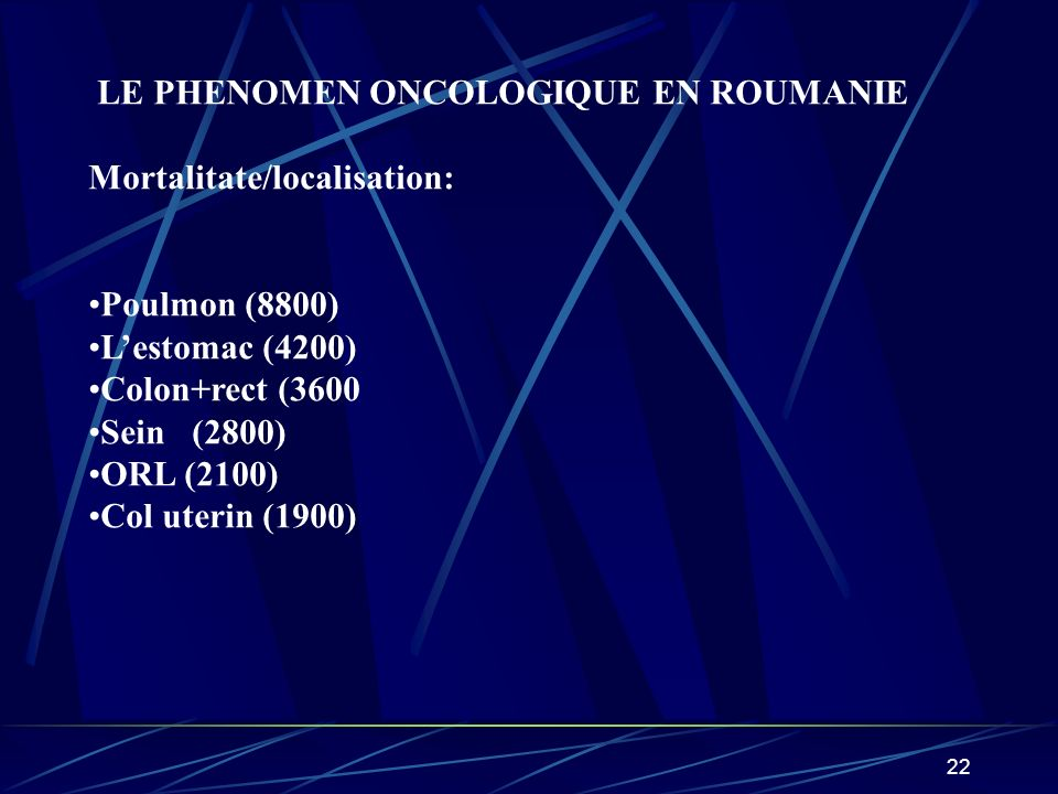 LE PHENOMEN ONCOLOGIQUE EN ROUMANIE