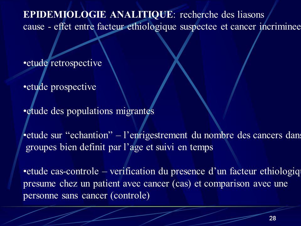 EPIDEMIOLOGIE ANALITIQUE: recherche des liasons