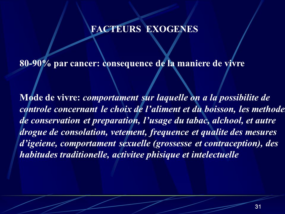 FACTEURS EXOGENES80-90% par cancer: consequence de la maniere de vivre. Mode de vivre: comportament sur laquelle on a la possibilite de.