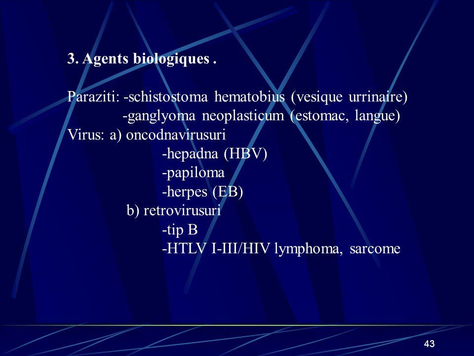 3. Agents biologiques . Paraziti: -schistostoma hematobius (vesique urrinaire) -ganglyoma neoplasticum (estomac, langue)