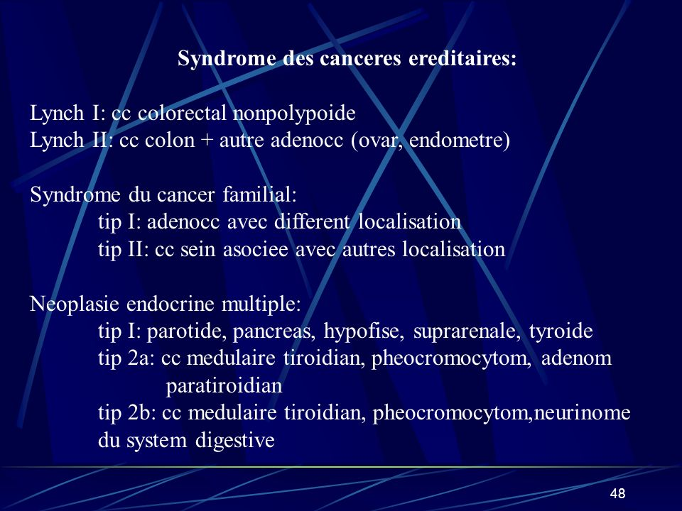 Syndrome des canceres ereditaires: