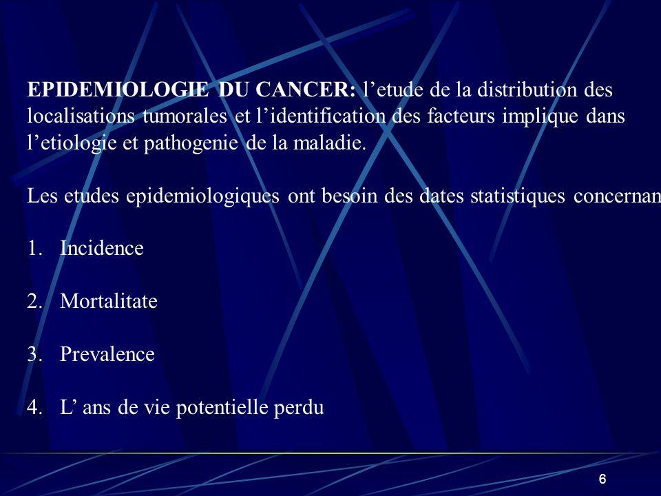 EPIDEMIOLOGIE DU CANCER: l'etude de la distribution des