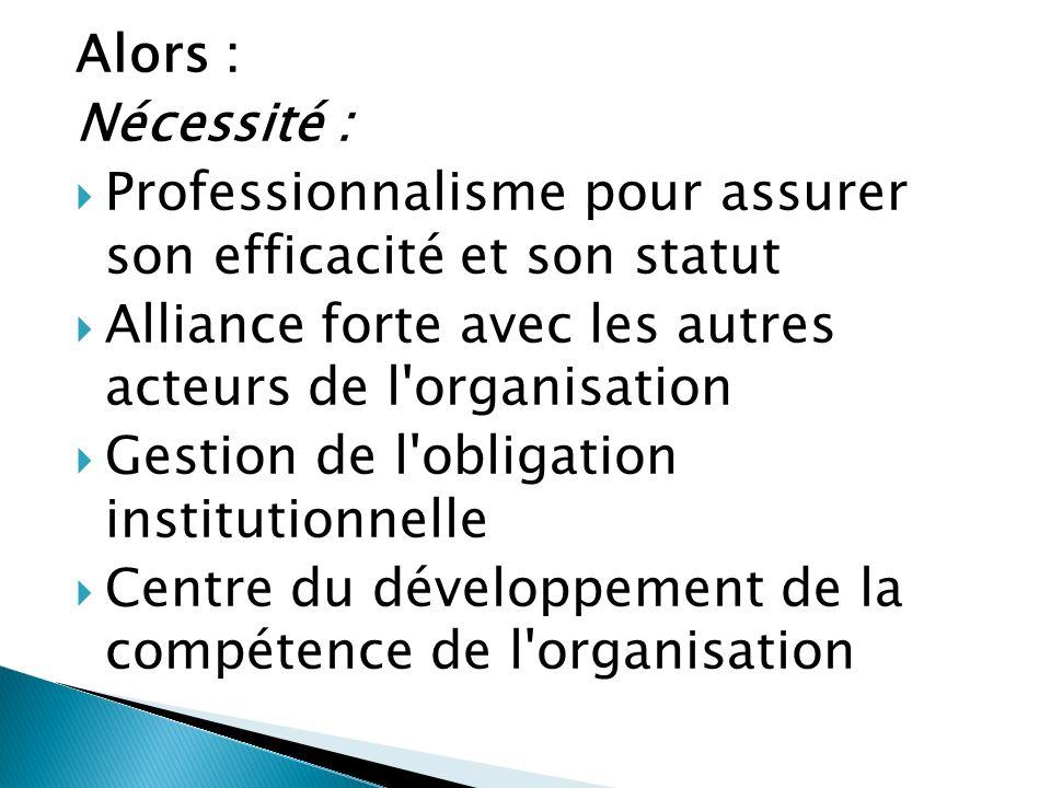 Alors : Nécessité : Professionnalisme pour assurer son efficacité et son statut. Alliance forte avec les autres acteurs de l organisation.