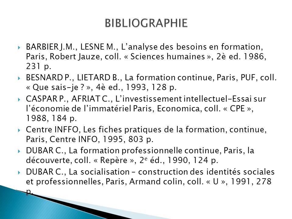 BIBLIOGRAPHIE BARBIER J.M., LESNE M., L'analyse des besoins en formation, Paris, Robert Jauze, coll. « Sciences humaines », 2è ed. 1986, 231 p.