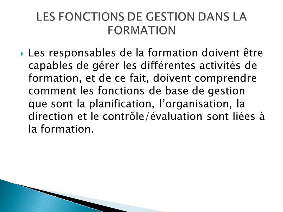 LES FONCTIONS DE GESTION DANS LA FORMATION