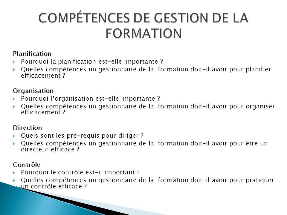 COMPÉTENCES DE GESTION DE LA FORMATION