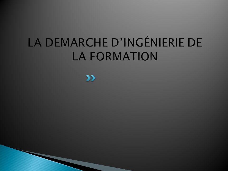 LA DEMARCHE D'INGÉNIERIE DE LA FORMATION
