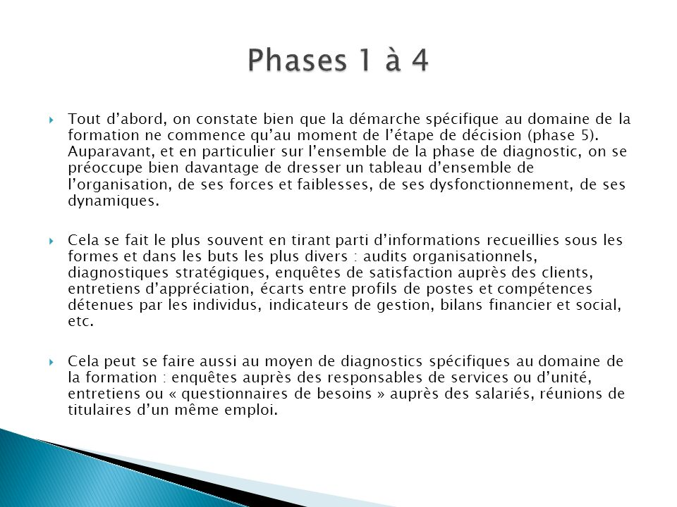 Phases 1 à 4
