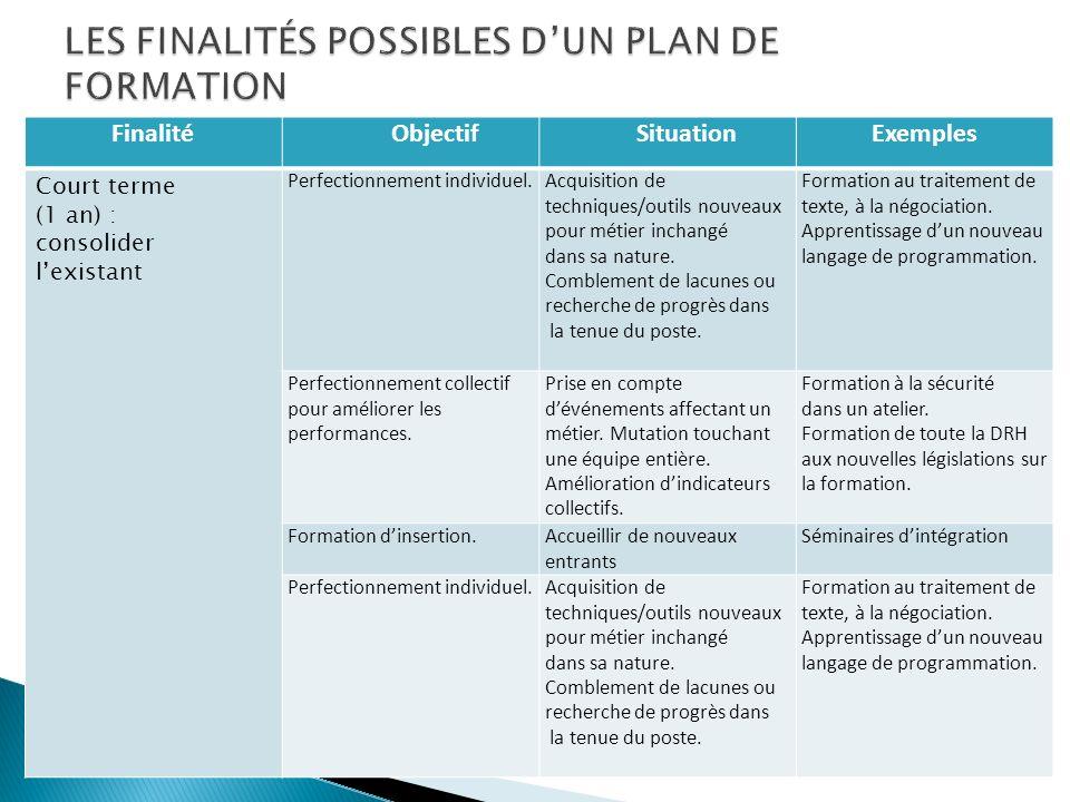 LES FINALITÉS POSSIBLES D'UN PLAN DE FORMATION