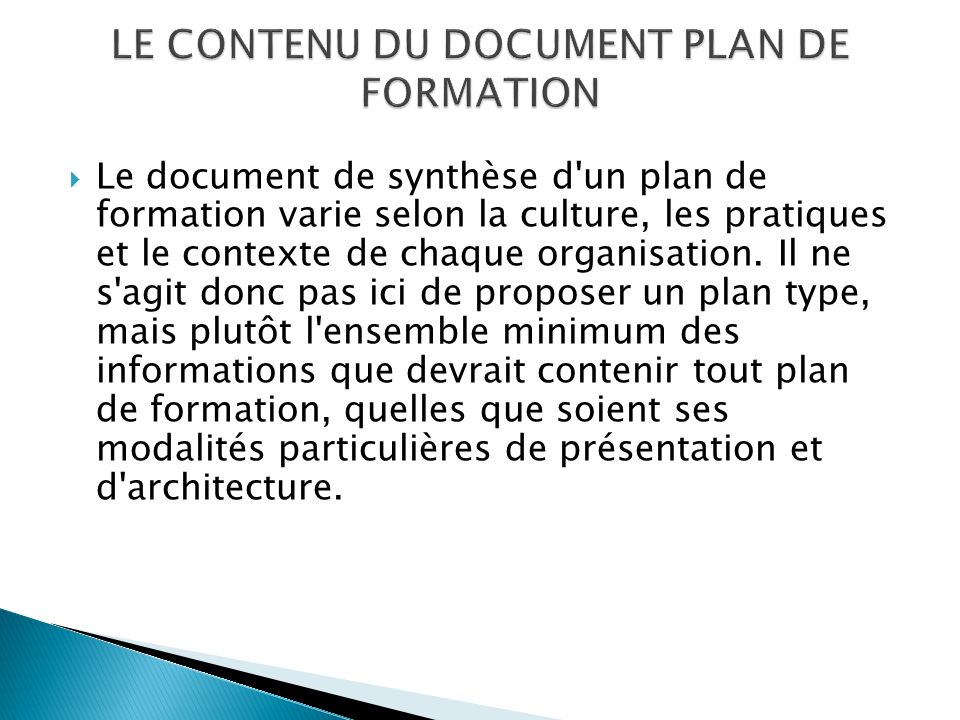 LE CONTENU DU DOCUMENT PLAN DE FORMATION