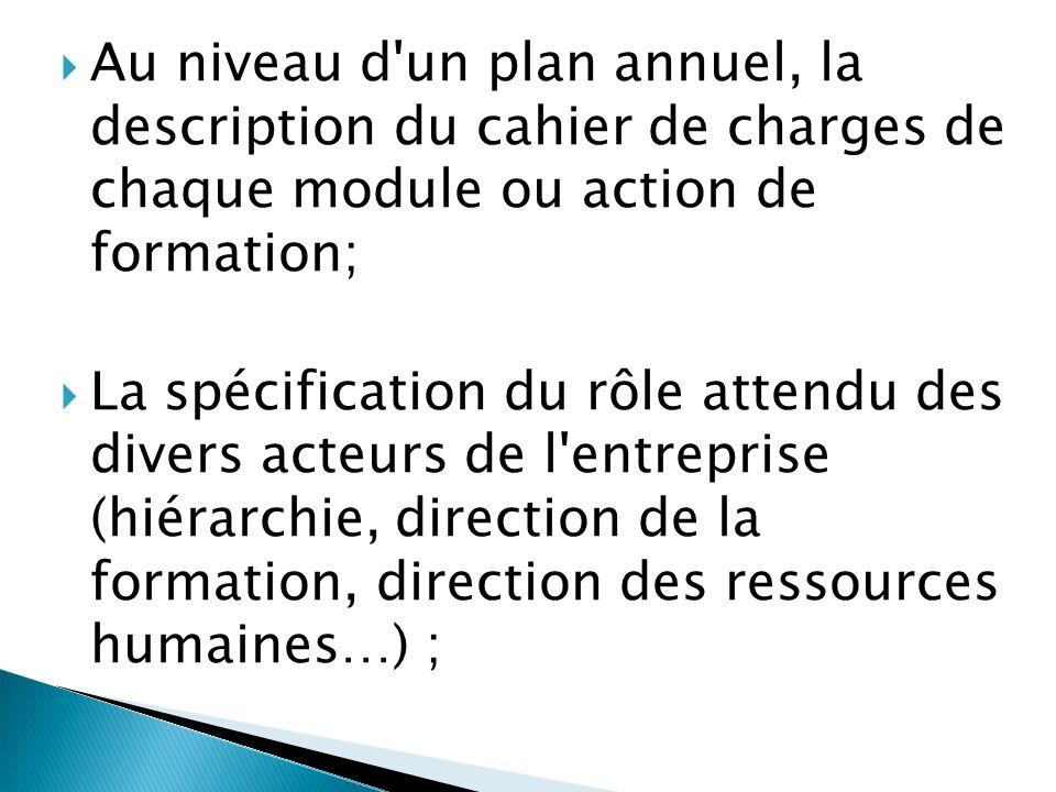 Au niveau d un plan annuel, la description du cahier de charges de chaque module ou action de formation;