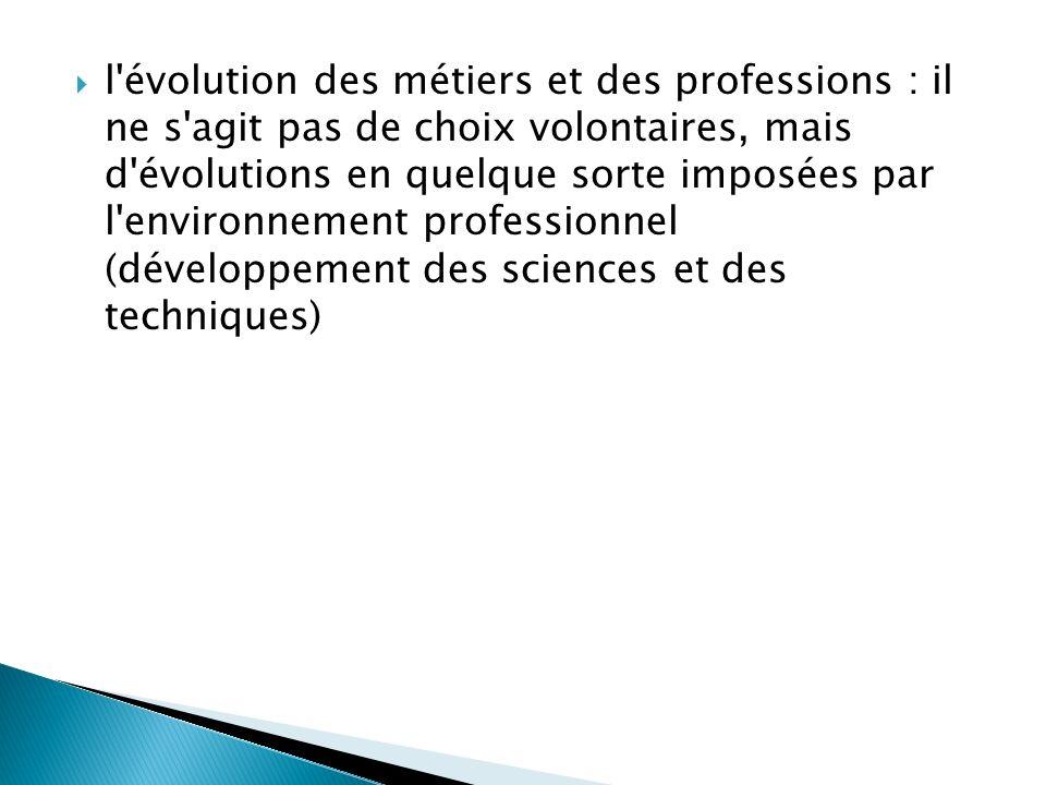 l évolution des métiers et des professions : il ne s agit pas de choix volontaires, mais d évolutions en quelque sorte imposées par l environnement professionnel (développement des sciences et des techniques)