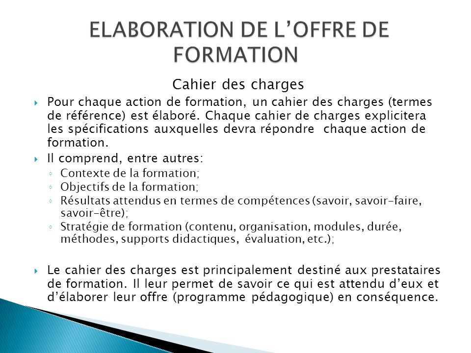 ELABORATION DE L'OFFRE DE FORMATION