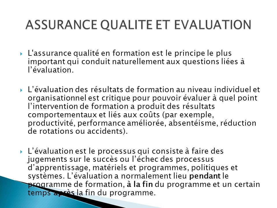 ASSURANCE QUALITE ET EVALUATION