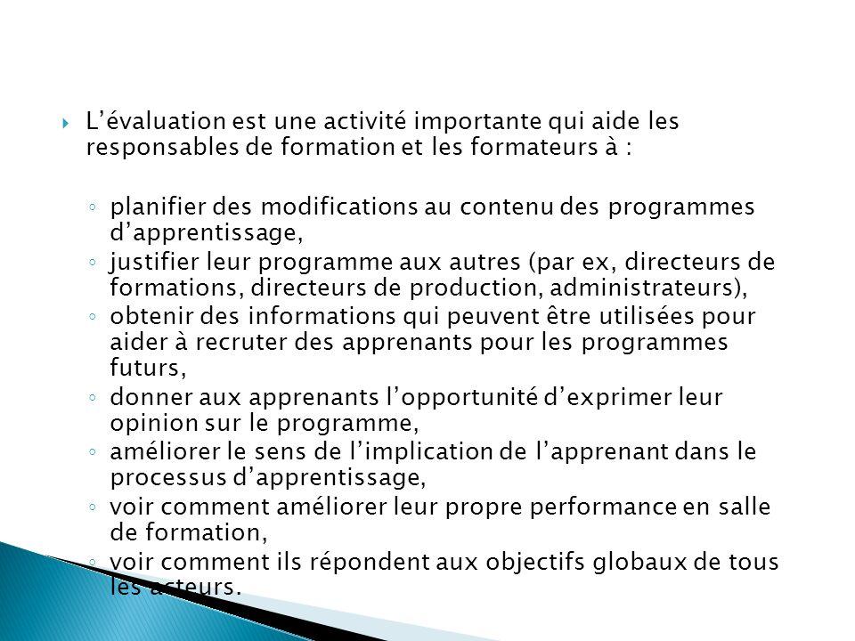 L'évaluation est une activité importante qui aide les responsables de formation et les formateurs à :