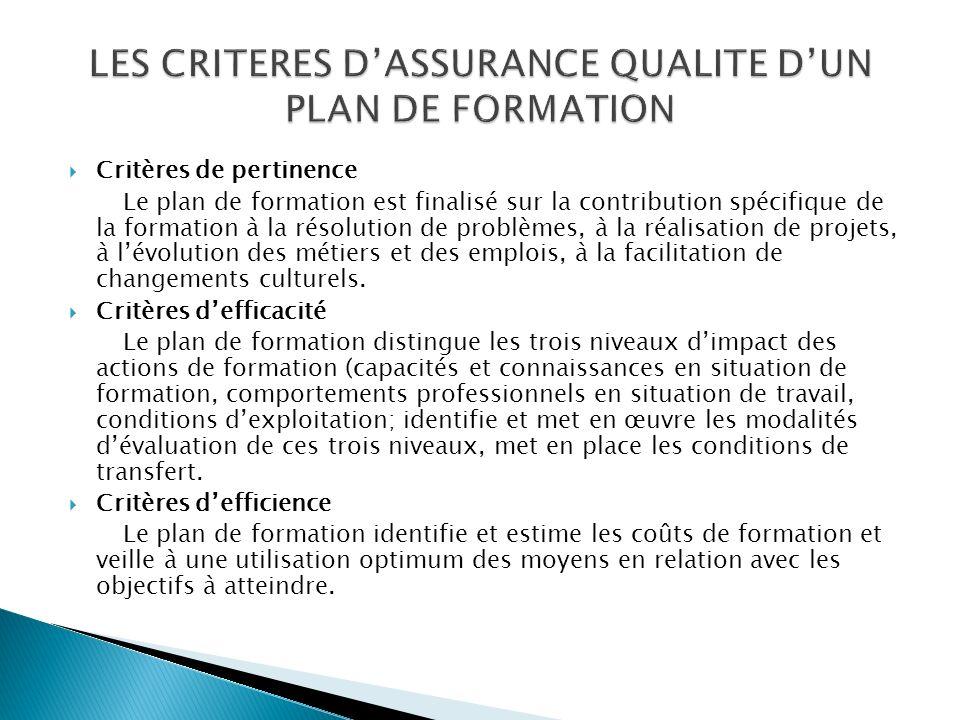LES CRITERES D'ASSURANCE QUALITE D'UN PLAN DE FORMATION
