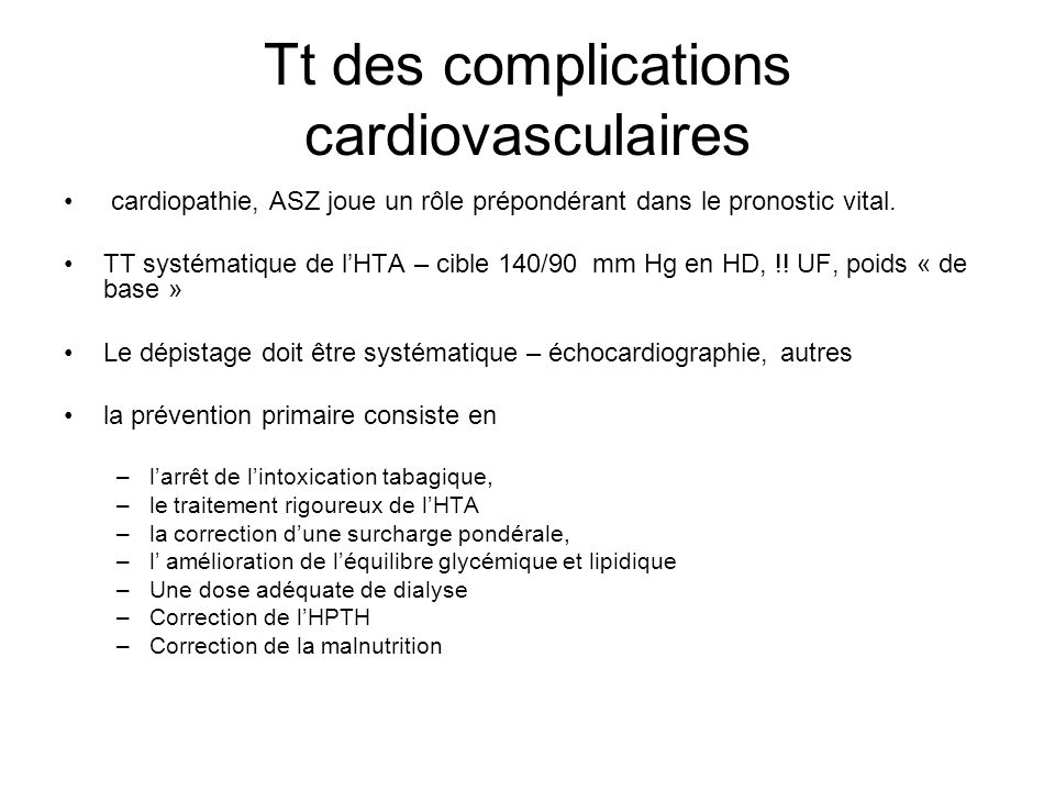 Tt des complications cardiovasculaires