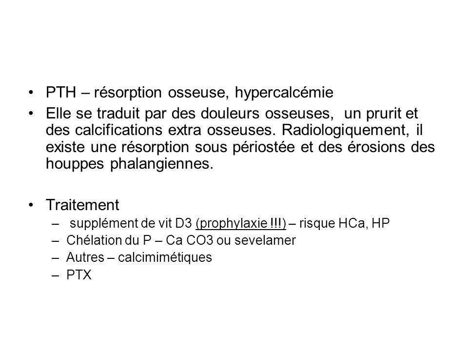 PTH – résorption osseuse, hypercalcémie