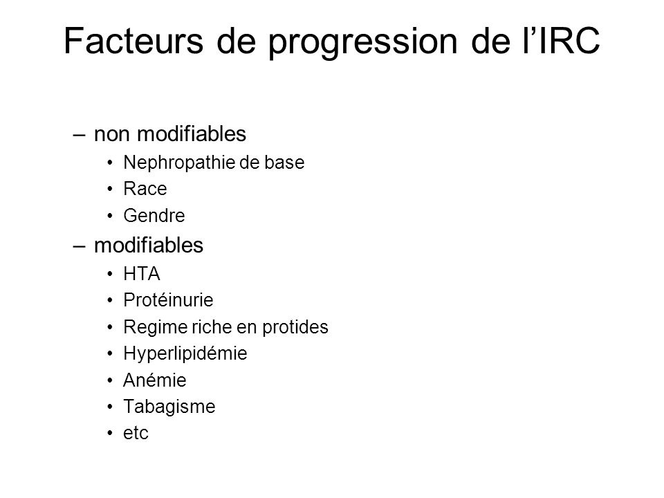 Facteurs de progression de l'IRC