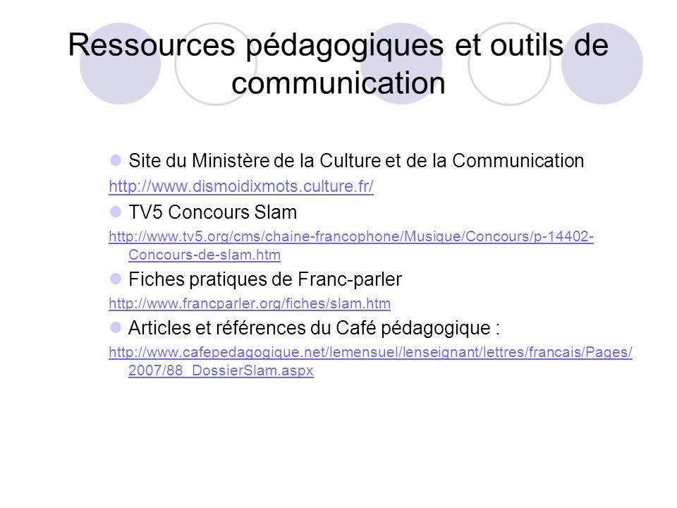 Ressources pédagogiques et outils de communication