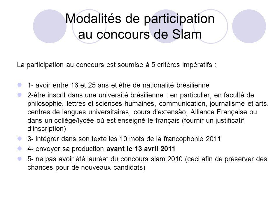 Modalités de participation au concours de Slam