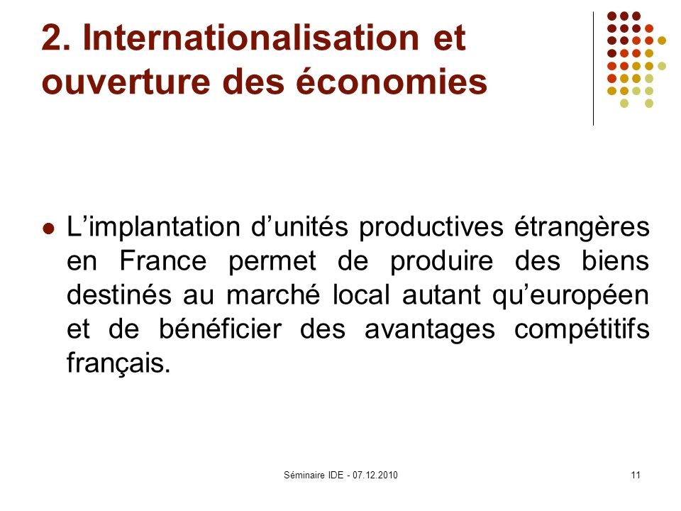 2. Internationalisation et ouverture des économies