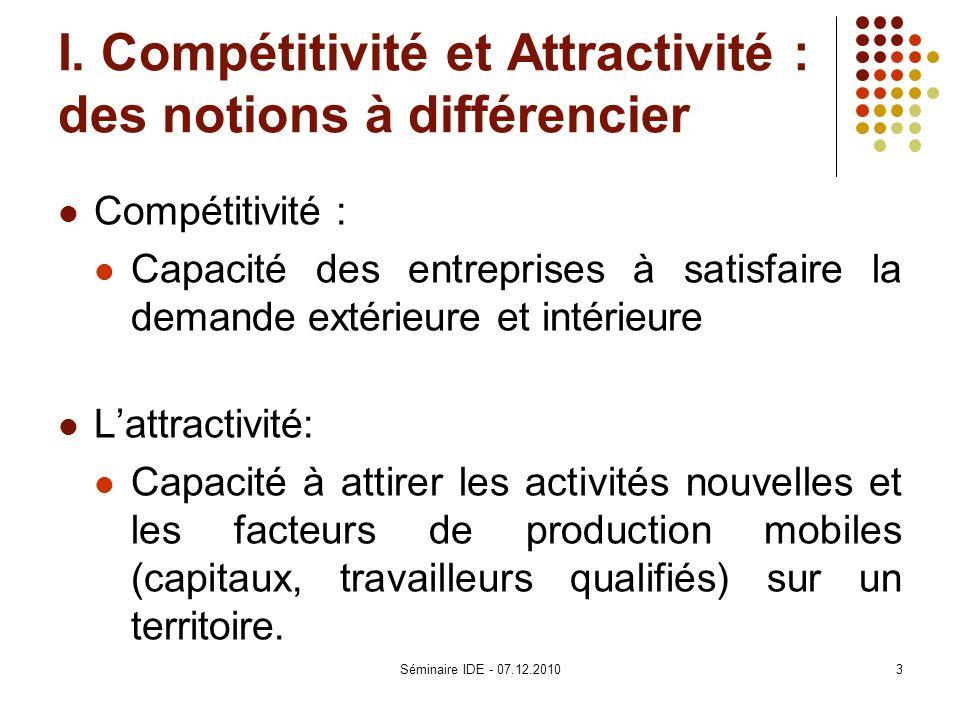 I. Compétitivité et Attractivité : des notions à différencier
