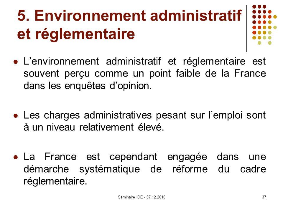 5. Environnement administratif et réglementaire