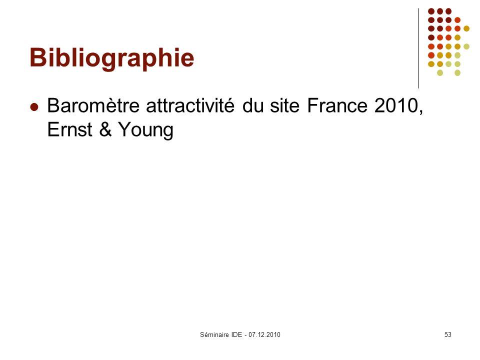 Bibliographie Baromètre attractivité du site France 2010, Ernst & Young Séminaire IDE - 07.12.2010