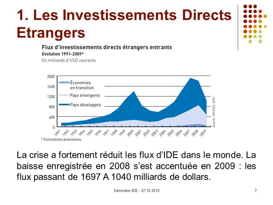 1. Les Investissements Directs Etrangers