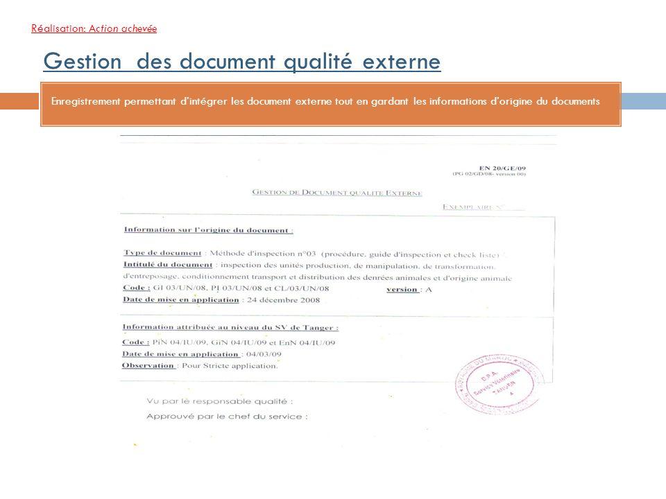 Gestion des document qualité externe