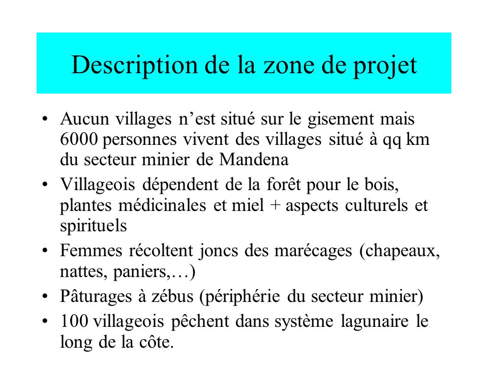 Description de la zone de projet