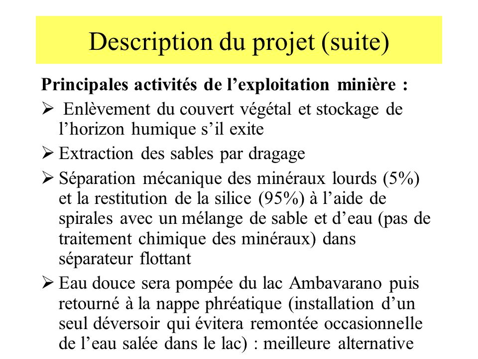 Description du projet (suite)