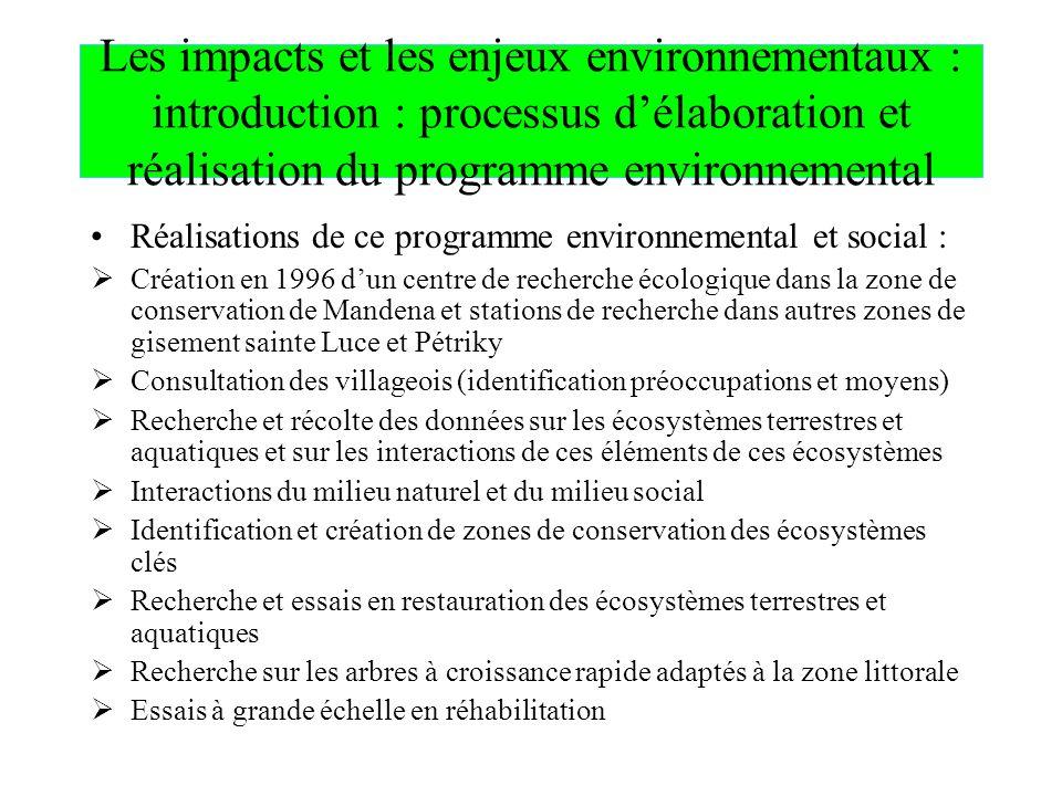 Les impacts et les enjeux environnementaux : introduction : processus d'élaboration et réalisation du programme environnemental