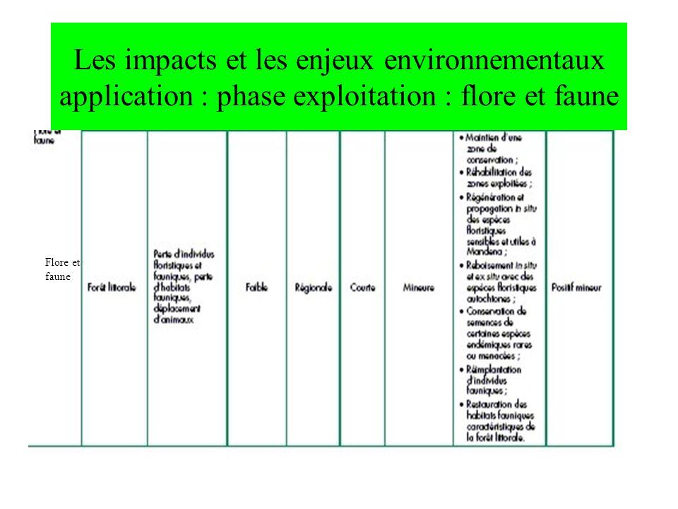 Les impacts et les enjeux environnementaux application : phase exploitation : flore et faune