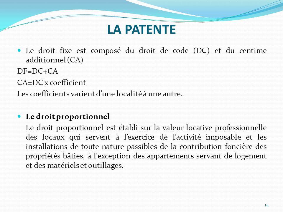 LA PATENTE Le droit fixe est composé du droit de code (DC) et du centime additionnel (CA) DF=DC+CA.