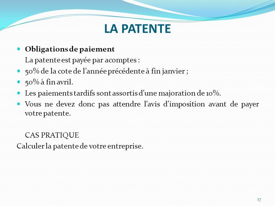 LA PATENTE Obligations de paiement La patente est payée par acomptes :