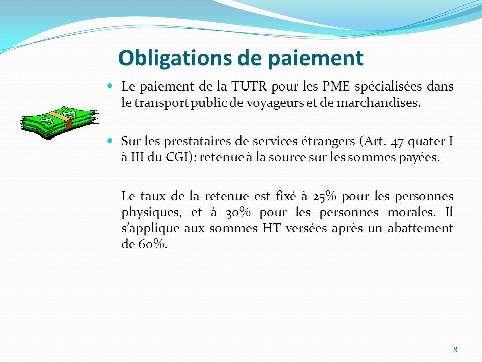 Obligations de paiement