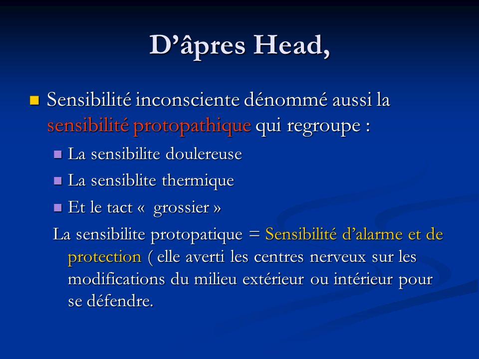 D'âpres Head, Sensibilité inconsciente dénommé aussi la sensibilité protopathique qui regroupe : La sensibilite doulereuse.