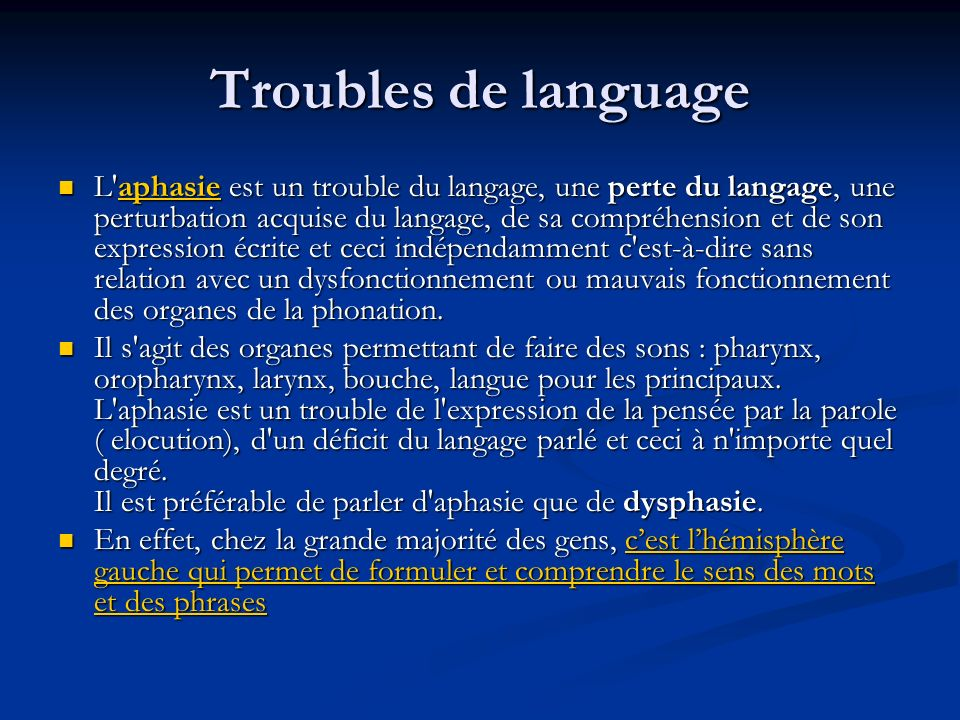 Troubles de language