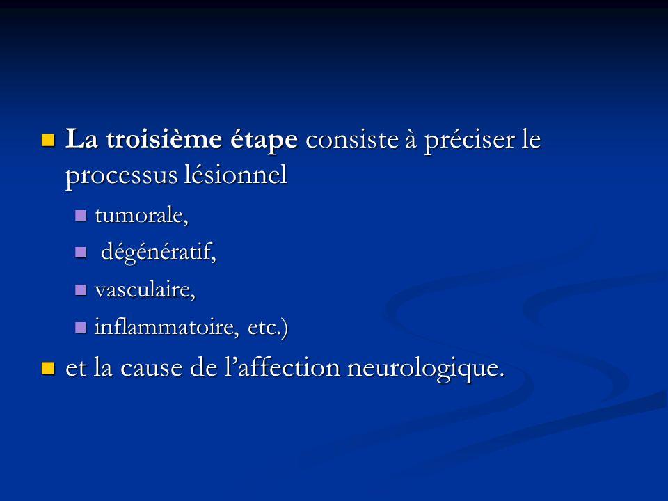 La troisième étape consiste à préciser le processus lésionnel