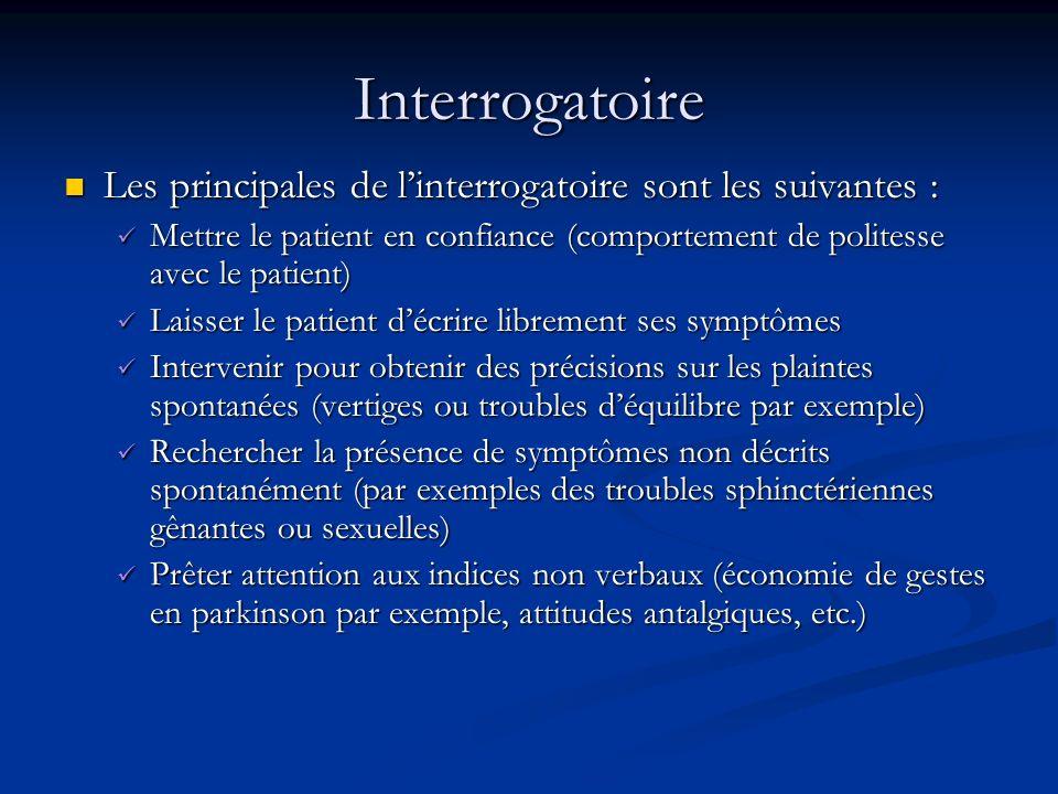 Interrogatoire Les principales de l'interrogatoire sont les suivantes : Mettre le patient en confiance (comportement de politesse avec le patient)